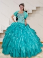 2015 Beautiful Turquoise Sweet 16 Dresses with Beading and Ruffles