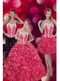 2015 Fashionable Pick Ups and Appliques Hot Pink Quinceanera Dresses