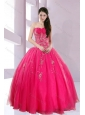 2015 Fshionable Strapless Hot Pink Quince Dresses with Appliques
