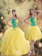2015 Gorgeous Ruching Quinceanera Dresses in Yellow and Green