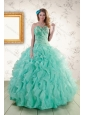 2015 Spring Strapless Quinceanera Dresses with Appliques and Ruffles