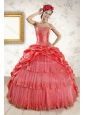 2015 Strapless Coral Red Quinceanera Dresses with Pick Ups and Beading