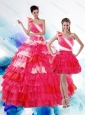 2015 Unique Multi Color Quince Dresses with Ruffled Layers and Beading