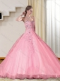 Baby Pink 2015 Sweetheart Quince Dresses with Beading and Appliques
