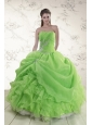 Brand New Spring Green Strapless Sweet 15 Dresses with Ruffles and Beading