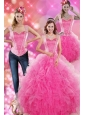 Decent Hot Pink 2015 Quinceanera Gown with Beading and Ruffles