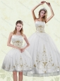 Inexpensive Embroidery White and Gold Quinceanera Dress for 2015