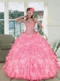 Perfect Pink Sweetheart Ruffled Quinceanera Dresses with Beading