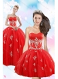 Perfect Red Quince Dresses with Appliques for 2015