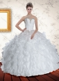 Pretty White Quinceanera Dresses with Beading and Ruffles