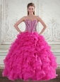 Sweetheart Hot Pink 2015 Quinceanera Gown with Beading and Ruffles