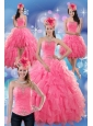 2015 Beautiful Rose Pink Strapless Dresses for Quince with Ruffles and Beading