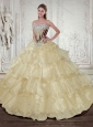 2015 Classical Champagne Quinceanera Dresses with Beading and Ruffles