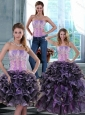 2015 Fashionable Appliques and Ruffles Quince Dresses in Multi Color