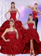 2015 Floor Length Strapless Sweet 16 Dress with Embroidery and Pick Ups