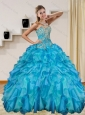 2015 Modern Baby Blue Quince Dresses with Beading and Ruffles