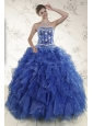 2015 New Style Royal Blue Quince Dresses with Beading and Ruffles