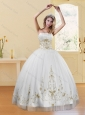 2015 New Style Strapless Embroidery White and Gold Dresses for Quinceanera