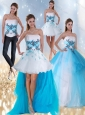 2015 Strapless Multi Color Quinceanera Dress with Appliques and Beading