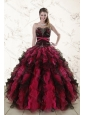 2015 The Most Popular Multi Color Quince Dresses with Ruffles and Beading