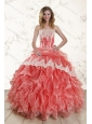 2015 Watermelon Strapless Quince Dresses with Appliques and Ruffles