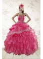 Beautiful Ruffles and Appliques Quince Dresses in Hot Pink