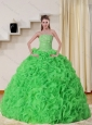 Cheap Strapless Spring Green Quinceanera Dress with Beading and Ruffles