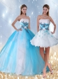 Pretty Multi Color Quinceanera Dress with Appliques and Beading