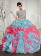 Sweetheart Multi Color Quinceanera Dresses with Beading and Ruffles for 2015