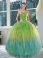 The Most Popular 2015 Appliques and Ruffles Sweet 15 Dress