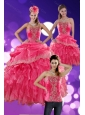 The Most Popular 2015 Hot Pink Quince Dresses with Ruffles and Appliques