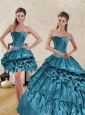 Wonderful 2015 Teal Sweet 15 Dresses with Ruffled Layers and Beading