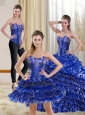 2015 Gorgeous Royal Blue Sweet 15 Dress with Ruffled Layers and Beading
