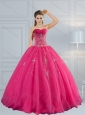 2015 Perfect Sweetheart Hot Pink Quinceanera Dress with Appliques and Beading
