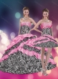 2015 Pink Beaded Zebra Printed Quinceanera Dresses with Ruffles and Pick Ups