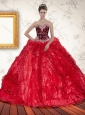 2015 Red Sweetheart Luxurious Quinceanera Dresses with Beading and Ruffles