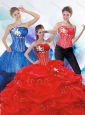 2015 Uniques Sweetheart Red Quinceanera Dresses with Beading