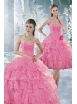 Beautiful Baby Pink Quince Dresses with Beading and Ruffles
