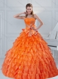Simple Orange Quinceanera Dress with Ruffles and Bowknot for 2015
