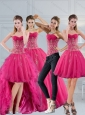 2015 Hot Pink Sweetheart Quinceanera Dress with Appliques and Beading