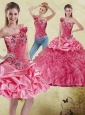 2015 Most Popular Appliques and Ruffles Watermelon Quinceanera Dress