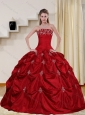 2015 Pretty Strapless Quinceanera Dress with Embroidery and Pick Ups