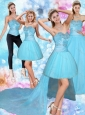 2015 Sweetheart Baby Blue Quinceanera Dress with Beading