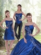 Detachable 2015 Appliques Spaghetti Straps Royal Blue Quinceanera Dress