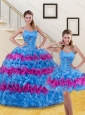 Detachable Multi Color Quince Dresses with Ruffled Layers and Beading