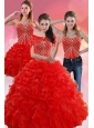 Exquisite Red Quince Dresses With Beading and Ruffles for 2015