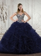 Fahionable 2015 Quinceanera Dresses in Navy Blue with Appliques and Ruffles