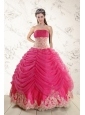 Fashionable 2015 Strapless Hot Pink Quinceanera Dresses with Beading and Lace