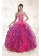 Fashionable Multi Color Ruffles and Appliques Quince Dresses