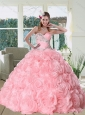Feminine Rose Pink Quinceanera Dress with Appliques and Rolling Flowers